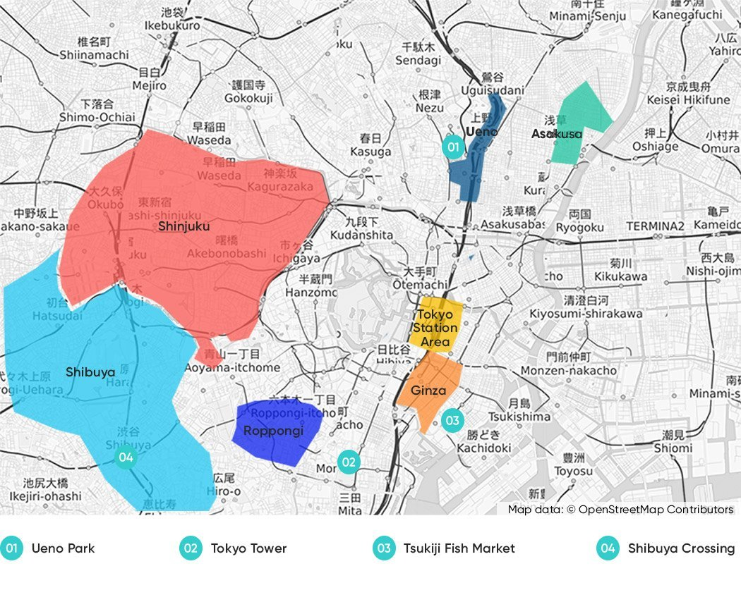 Tokyo Accommodation Guide - A Map