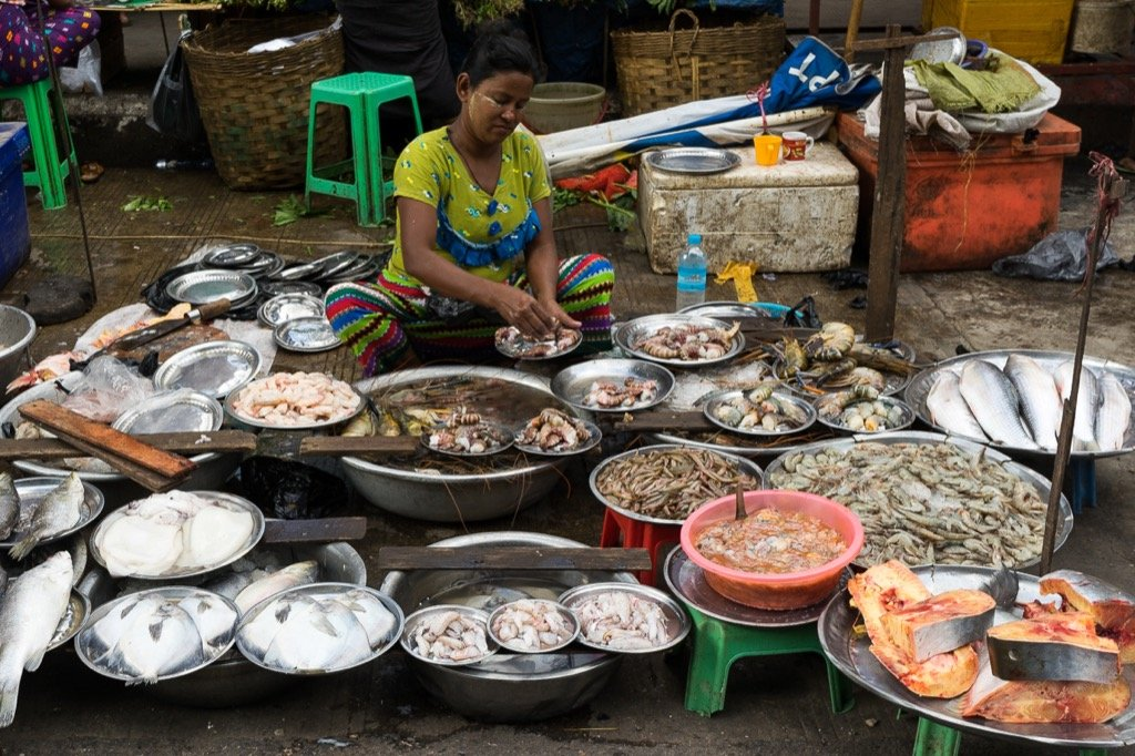 Seafood market, Yangon