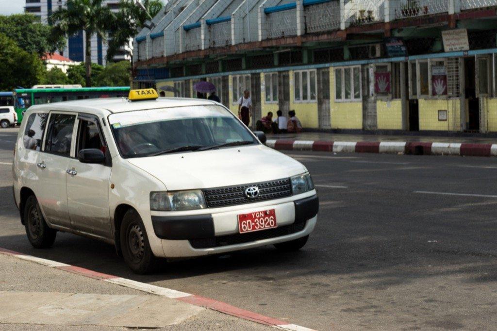 Taxis in Yangon