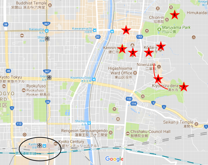 Map of East Kyoto