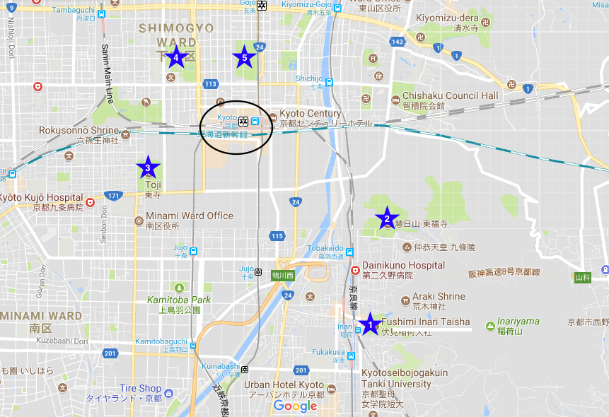 Map of South Kyoto