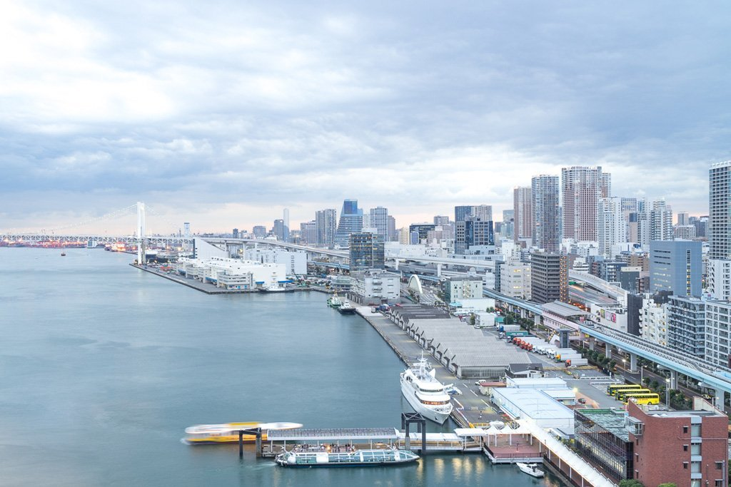 View of Tokyo Bay and part of the Rainbow Bridge from InterContinental Tokyo Bay