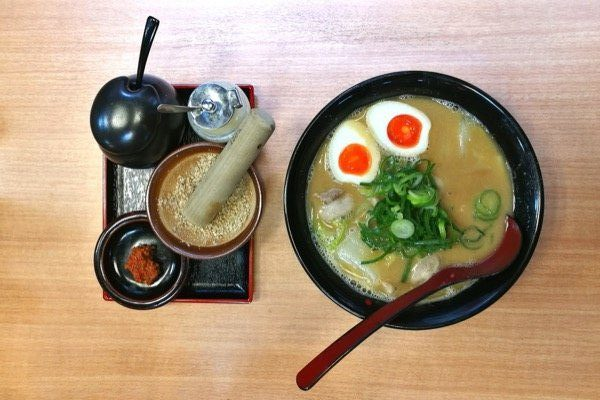 Traditional ramen soup