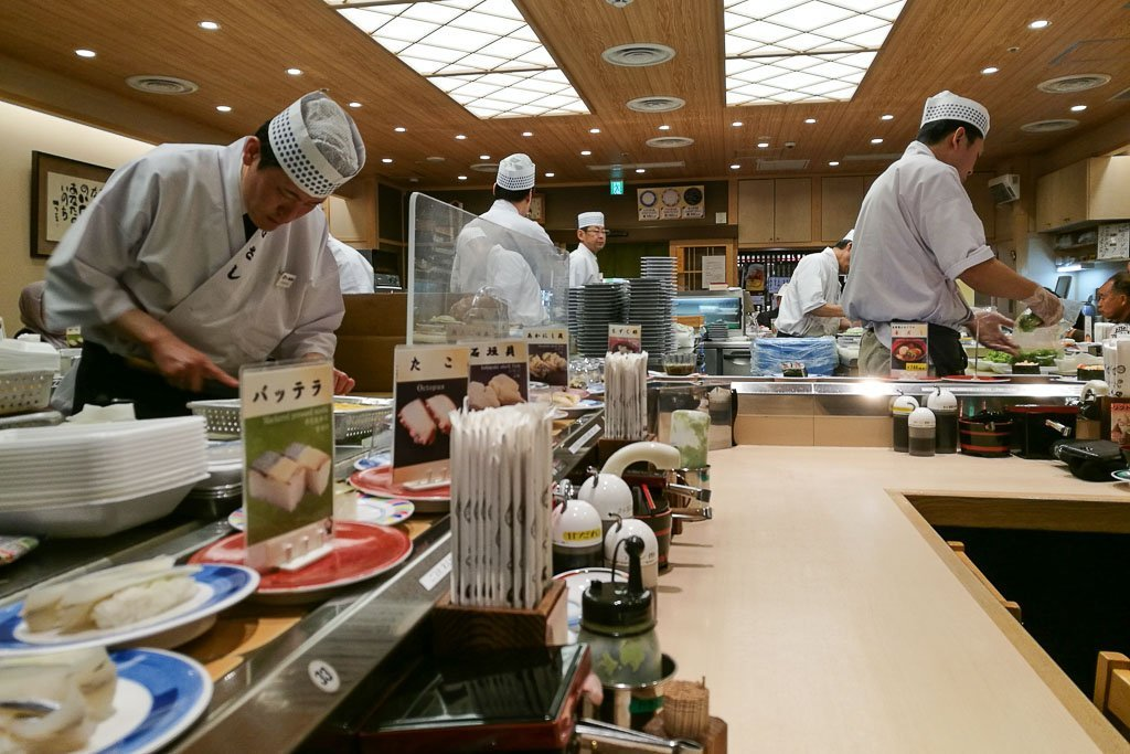 Typical kaiten sushi in Japan