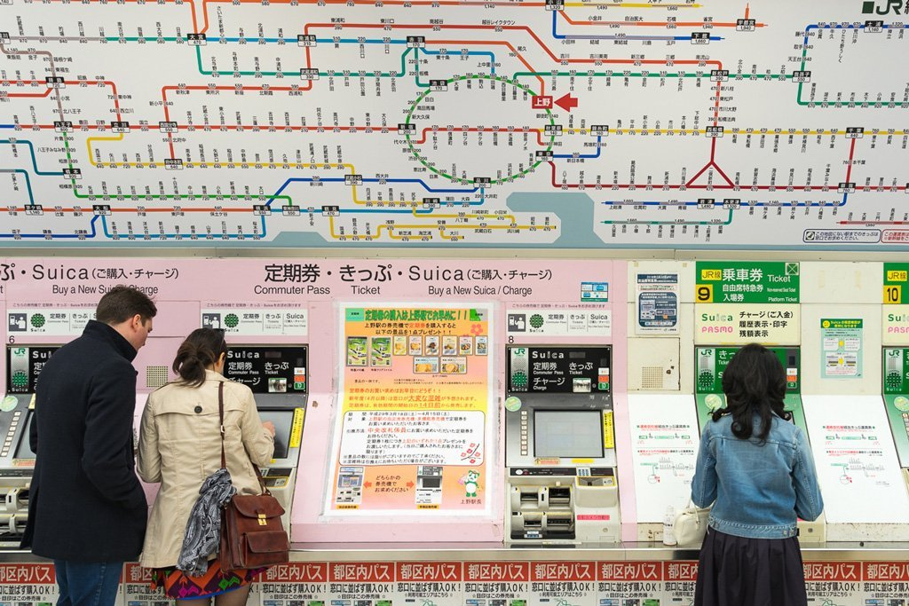 Subway map and ticket machines in Tokyo