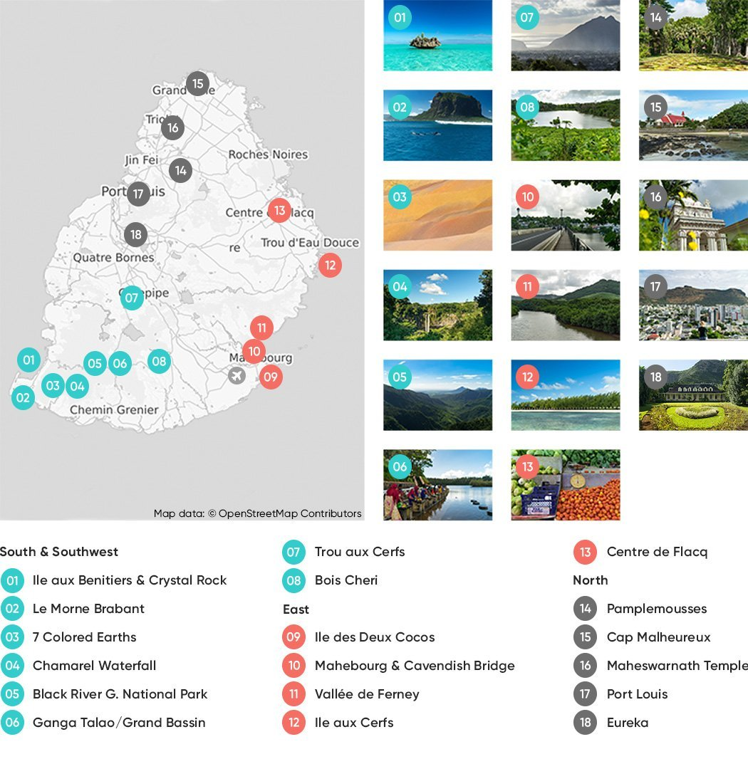 Mauritius Attractions Map