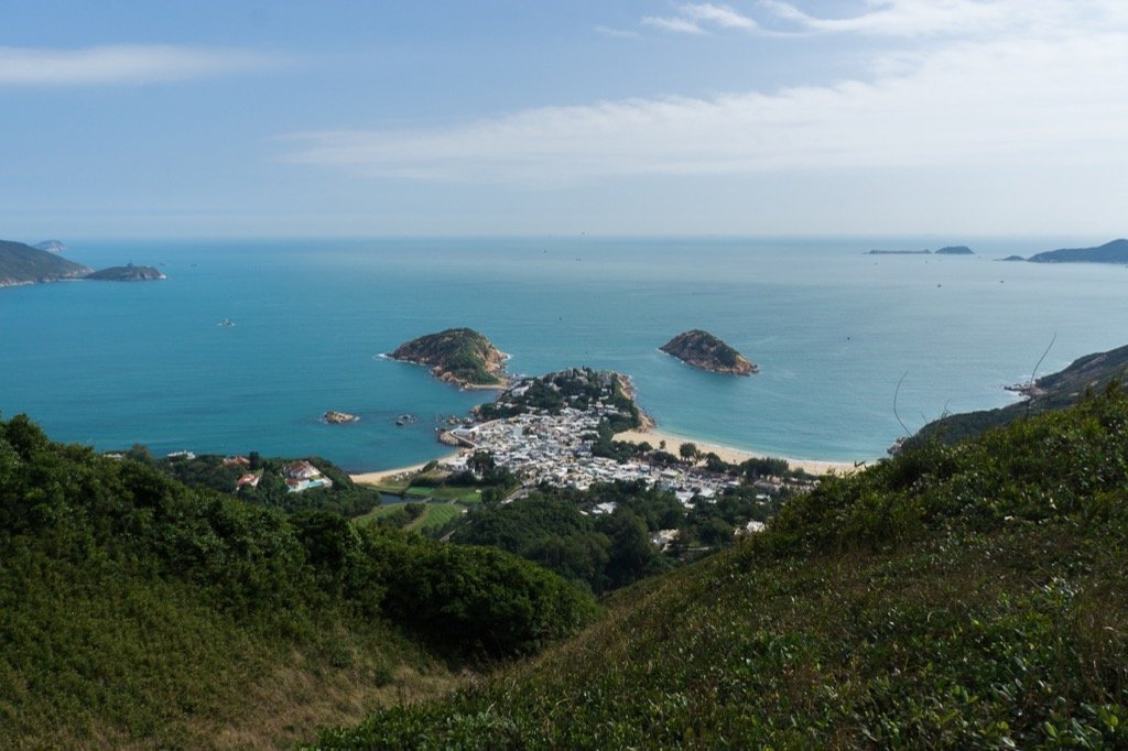 View of the village of Shek O from the Dragon's Back.