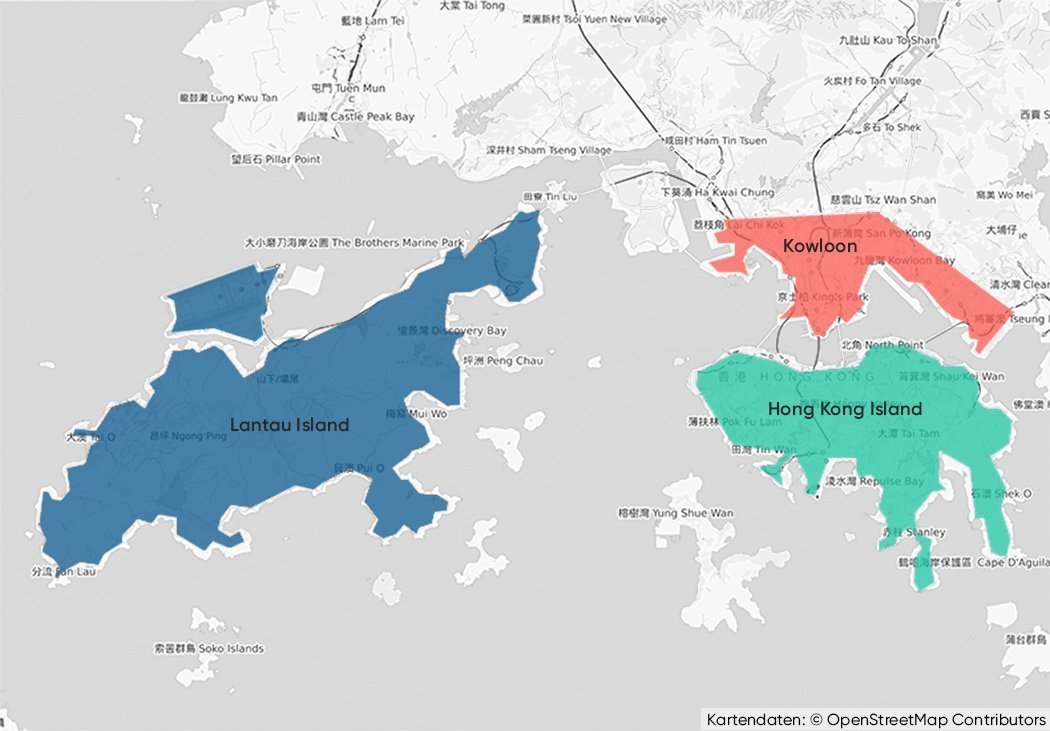 The three main areas of Hong Kong