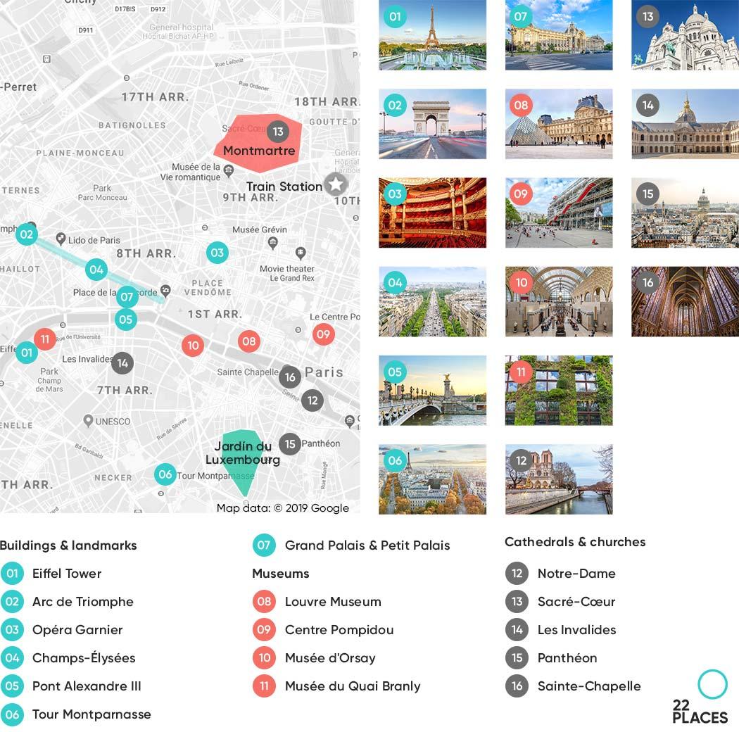 Paris sights map