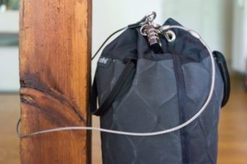 Portable safe tied up