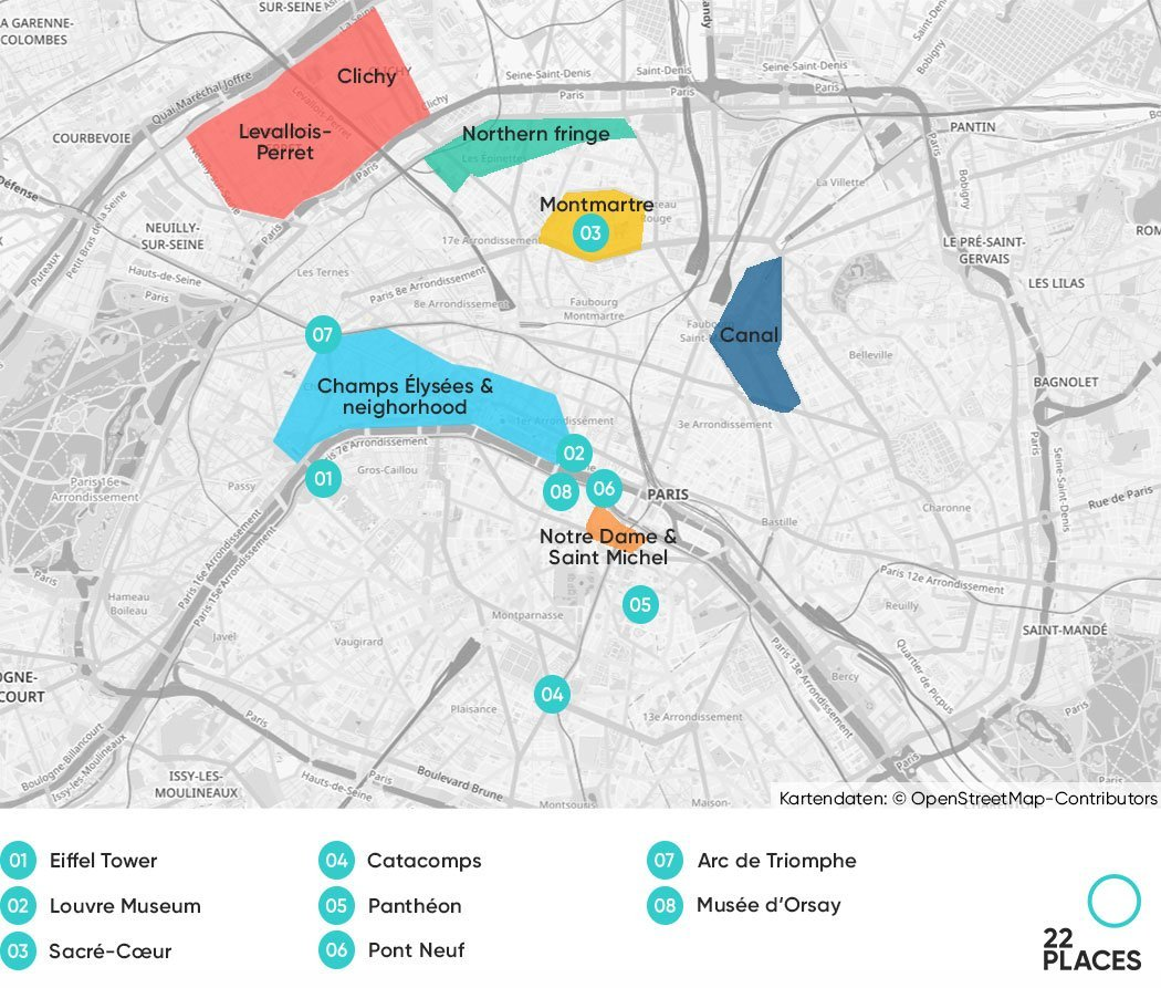 Where to stay in Paris. Best districts on a map.