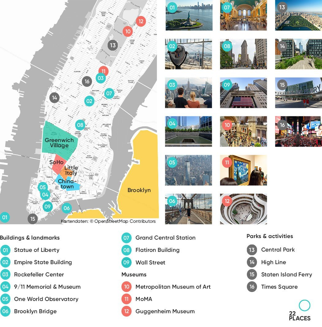 New York sights on a map
