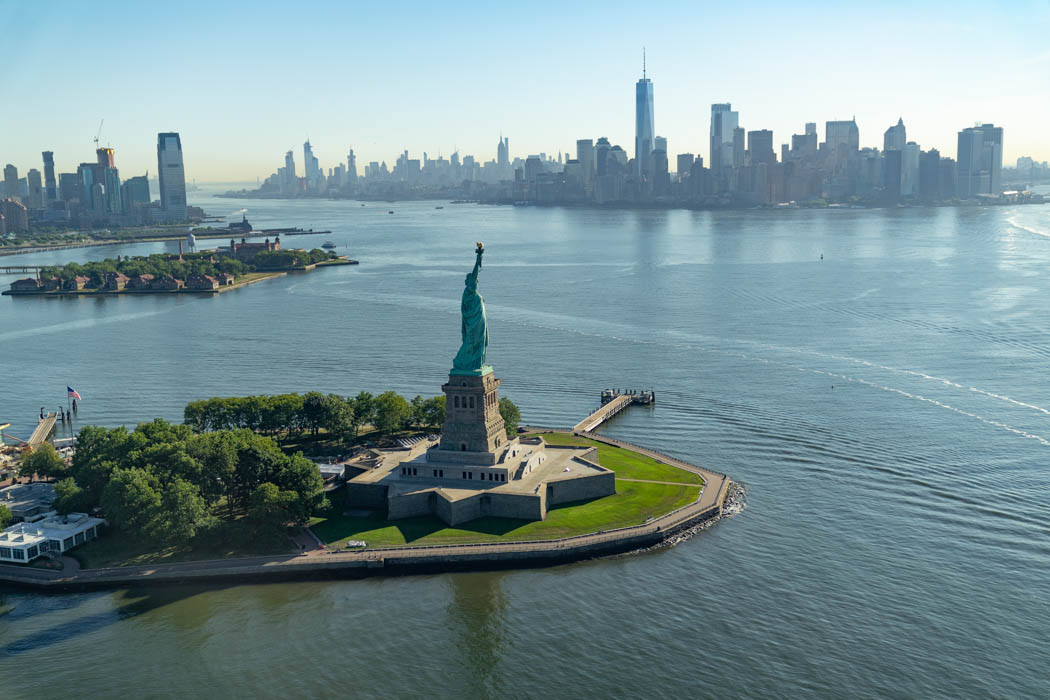 The Statue of Liberty in front of Manhattan's skyline