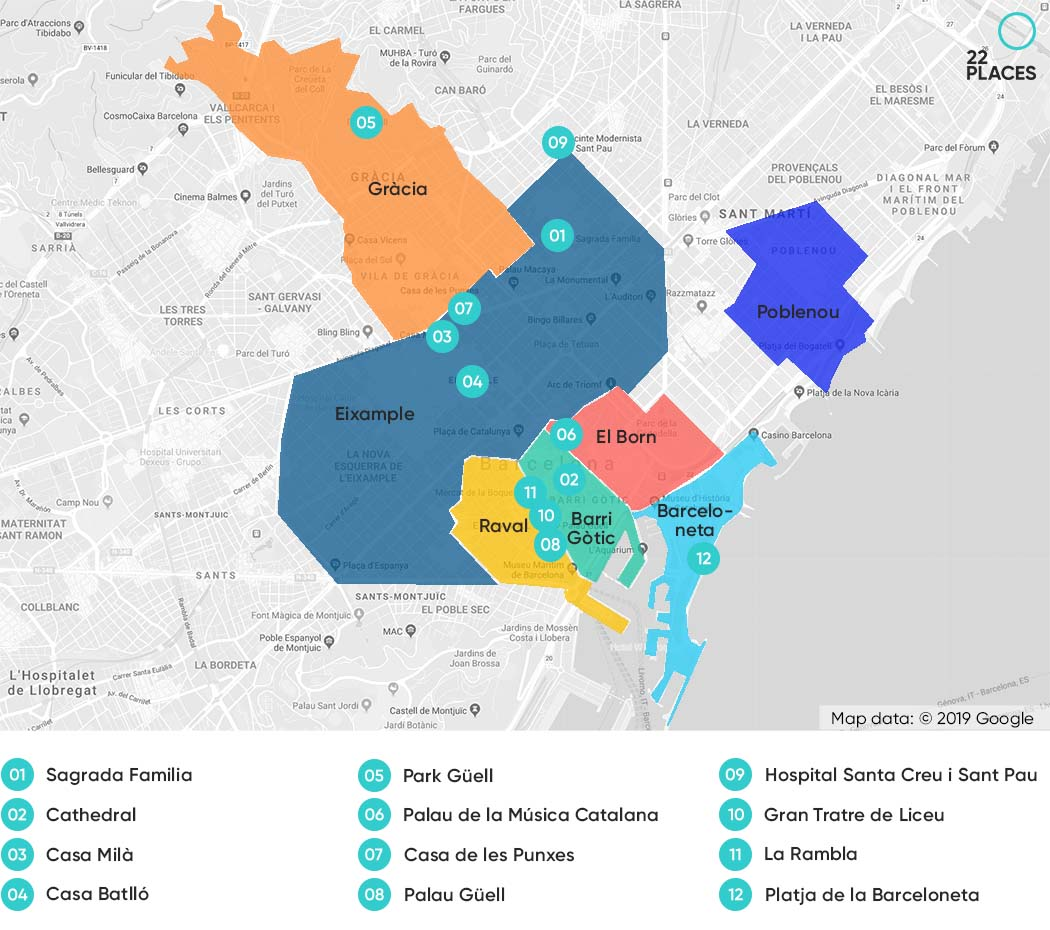 Where to stay in Barcelona - Map