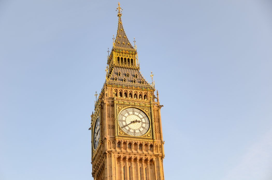 Close-up shot of the impressive neo-Gothic Clock Tower, showing Big Ben's clock face.