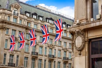 Photo of British flags over oxford street