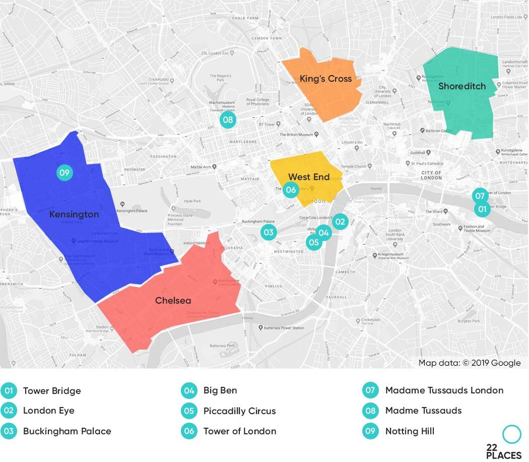 Map of London highlighting the best neighborhoods to stay.