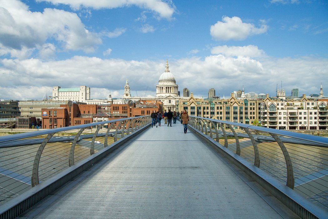 Panoramic shot of London's skyline, centered on St. Paul's Cathedral, taken on the Millennium Bridge.